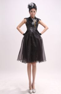 High Neck and Cap Sleeves for School Anniversary Party Dress Sequin in Michigan