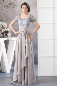 Gray Lace and Bowknot School Spring Party Dress Short Sleeves from Florida