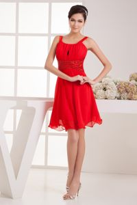 Straps Red Ruched Junior Graduation Dresses in Kelso with Flounced Hem
