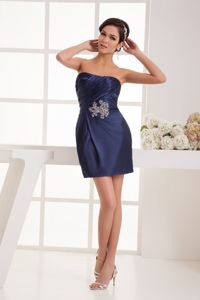Navy Blue Strapless Ruched Middle School Graduation Dresses in Melrose