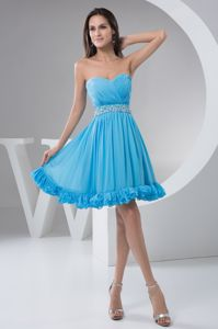 Ruched and Beaded in Aqua Blue Senior Graduation Dress in Bridge of Allan