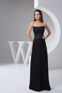 Strapless Floor-length Style Black Chiffon Fall Graduation Dress in Callander