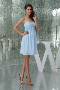 Sweetheart Ruched Accent Baby Blue Graduation Dress for Girls in Crianlarich