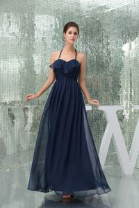 Navy Blue Column Halter Top Ruched Prom Dress for Graduation in Killearn