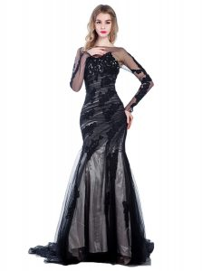Mermaid Black Long Sleeves Court Train Lace With Train Party Dress