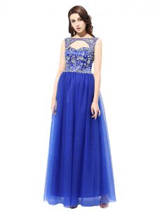 Fitting Blue Quince Ball Gowns Prom and Party with Beading Bateau Sleeveless Zipper