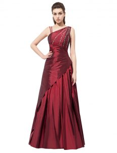 Gorgeous Floor Length Side Zipper Casual Dresses Burgundy for Prom and Party with Beading and Bowknot