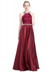Halter Top Burgundy Column/Sheath Beading and Lace Quince Ball Gowns Zipper Taffeta Sleeveless Floor Length