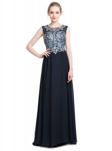 Black Zipper Scoop Beading Quince Ball Gowns Chiffon Sleeveless Brush Train