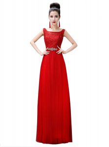 Trendy Red Sleeveless Chiffon Zipper Quince Ball Gowns for Prom and Party