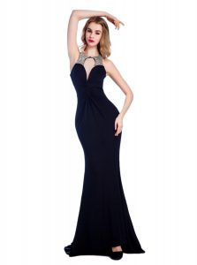 Black Silk Like Satin Criss Cross High-neck Sleeveless Floor Length Quinceanera Gown Beading