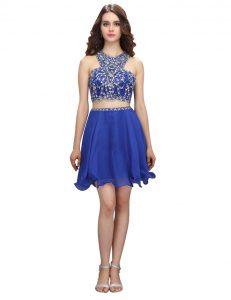 Customized Scoop Knee Length Royal Blue Quince Ball Gowns Organza Sleeveless Beading