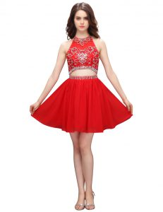Fantastic Coral Red Empire High-neck Sleeveless Organza Knee Length Zipper Beading and Appliques Quince Ball Gowns