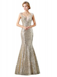 Sequins Mermaid Quince Ball Gowns Champagne V-neck Sequined Sleeveless Floor Length Zipper