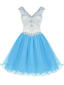 V-neck Sleeveless Organza Quince Ball Gowns Beading Zipper