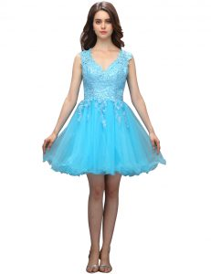 Appliques Quince Ball Gowns Aqua Blue Backless Sleeveless Mini Length