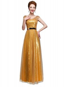 Scoop Gold Sequined Zipper Quinceanera Dress Cap Sleeves Floor Length Beading and Sequins and Belt