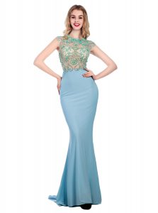 Scoop Sleeveless With Train Beading Zipper Quince Ball Gowns with Light Blue Sweep Train