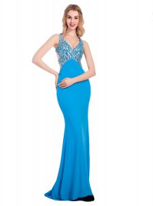 Baby Blue Sweet 16 Quinceanera Dress Prom and Party with Beading V-neck Sleeveless Clasp Handle