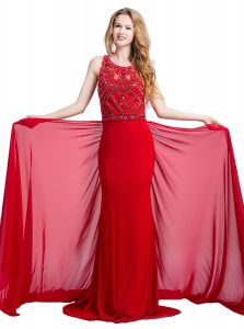 Scoop With Train Empire Sleeveless Red 15th Birthday Dress Court Train Zipper