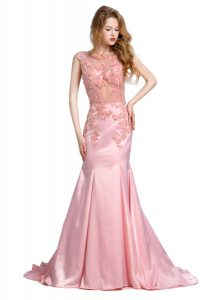 Best Mermaid Baby Pink Scoop Neckline Beading Vestidos de Quinceanera Sleeveless Backless