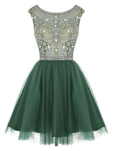 Vintage Scoop Peacock Green Zipper Vestidos de Quinceanera Beading and Appliques Sleeveless Mini Length