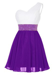 Low Price White And Purple Quince Ball Gowns Prom and Party with Beading One Shoulder Sleeveless Zipper