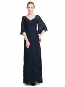 Navy Blue Empire V-neck Half Sleeves Chiffon Floor Length Zipper Appliques Quinceanera Gowns