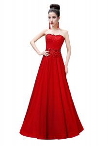 Best Red Sleeveless Chiffon Lace Up Quince Ball Gowns for Prom and Party