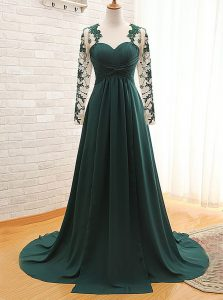Teal Long Sleeves With Train Lace Zipper Sweet 16 Dress