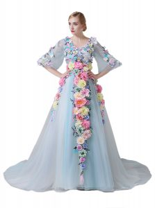 Amazing V-neck Half Sleeves Tulle Ball Gown Prom Dress Hand Made Flower Court Train Zipper