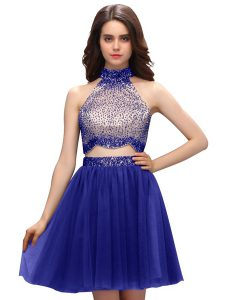 Mini Length Blue Quince Ball Gowns High-neck Sleeveless Zipper