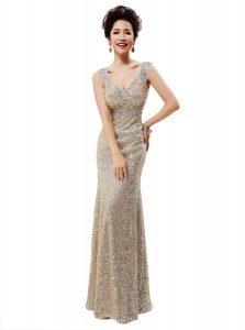 Sequined Sleeveless Floor Length Quinceanera Dress and Sequins