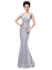 High Class Silver Zipper Ball Gown Prom Dress Sequins Sleeveless Floor Length