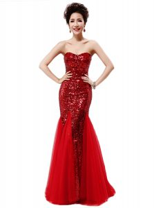Sequins Mermaid Sleeveless Wine Red Quinceanera Gowns Zipper