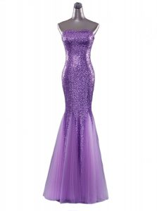 New Arrival Mermaid Floor Length Eggplant Purple Quinceanera Gowns Sequined Sleeveless Sequins