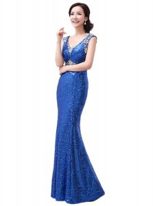 Royal Blue V-neck Zipper Sequins Quinceanera Gown Sleeveless