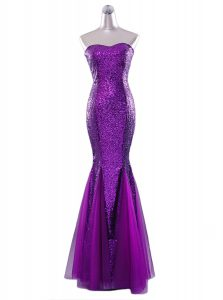 Enchanting Mermaid Sequined Sleeveless Floor Length Quinceanera Gown and Sequins