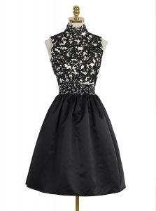 Glorious Black Zipper High-neck Beading and Appliques Vestidos de Quinceanera Satin Sleeveless