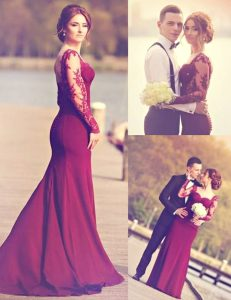 Sexy Mermaid Scoop Appliques Quince Ball Gowns Burgundy Zipper Long Sleeves Brush Train