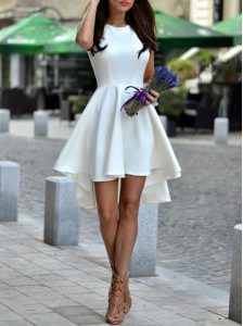 White A-line Satin Scoop Sleeveless Pleated Asymmetrical Zipper Quinceanera Gown