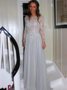 Shining Long Sleeves Backless Floor Length Appliques Quinceanera Gown