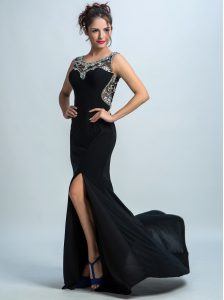 Traditional Mermaid Scoop Sleeveless Brush Train Zipper Quinceanera Gowns Black Chiffon