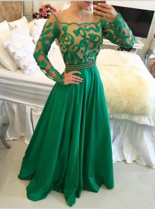 New Style Scoop Green Taffeta Side Zipper Sweet 16 Quinceanera Dress Long Sleeves Floor Length Beading and Appliques