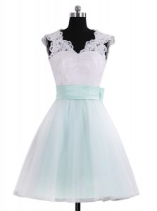 Glamorous A-line Quinceanera Dress Blue And White V-neck Tulle Sleeveless Mini Length Zipper