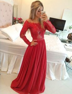 Gorgeous A-line Quinceanera Gown Red Off The Shoulder Chiffon Long Sleeves Floor Length Zipper