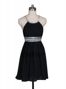 Black Halter Top Zipper Beading Quinceanera Gown Sleeveless