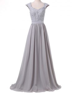 Graceful Scoop Cap Sleeves Chiffon 15 Quinceanera Dress Lace and Pleated Lace Up