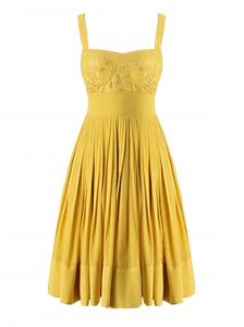 High End Yellow Criss Cross Vestidos de Quinceanera Beading and Pleated Sleeveless Knee Length