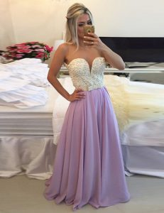 Sweet Scoop Clasp Handle Floor Length Lavender Quince Ball Gowns Chiffon Sleeveless Ruching